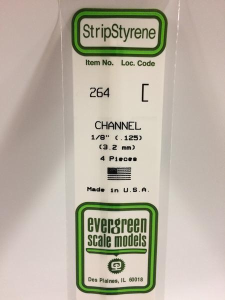Evergreen Styrene Channel 35cm Long X 3.2 mm (4)