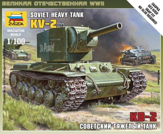 Zvezda: 1/100 KV-2 Soviet Tank - Model Kit