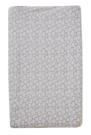 Little Baby Turtle: Change Mat Cover - Grey Marl with White Leaves