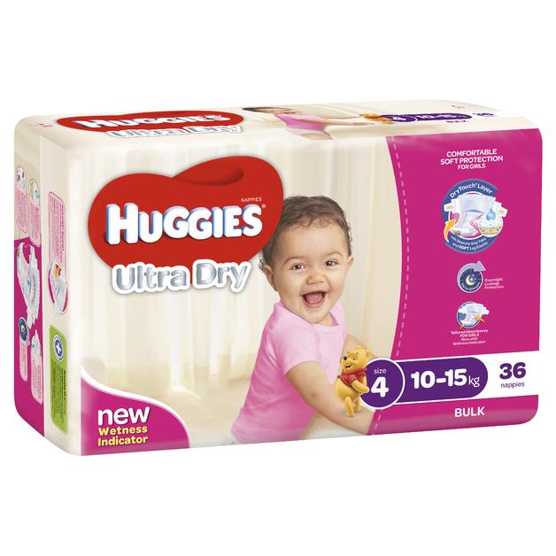 Huggies Ultra Dry Nappies Bulk - Size 4 Toddler Girl (36)