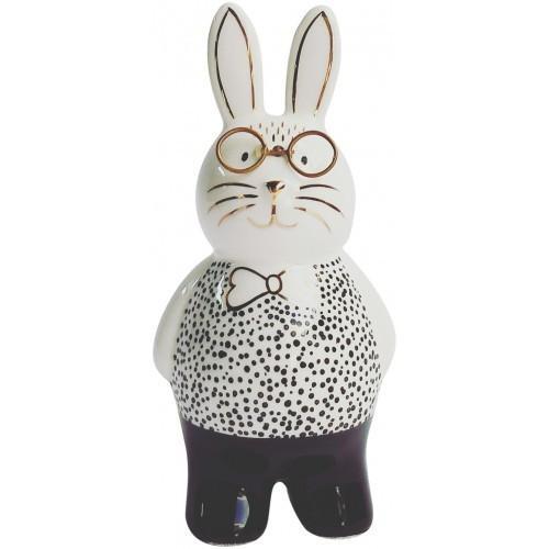 Bunny with Glasses Figurine Monochrome 13cm