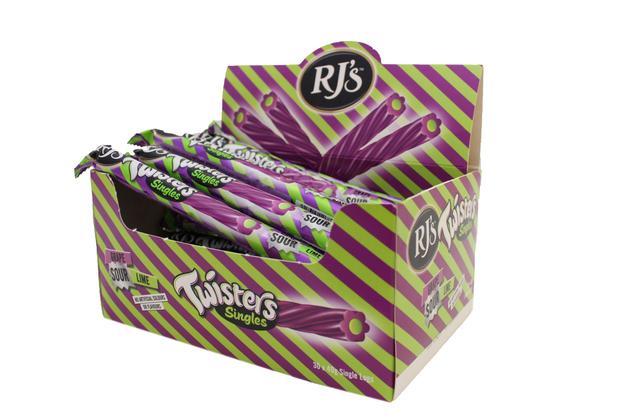 RJ's Fruity Twisters - Grape & Sour Lime Logs (30 Pack)
