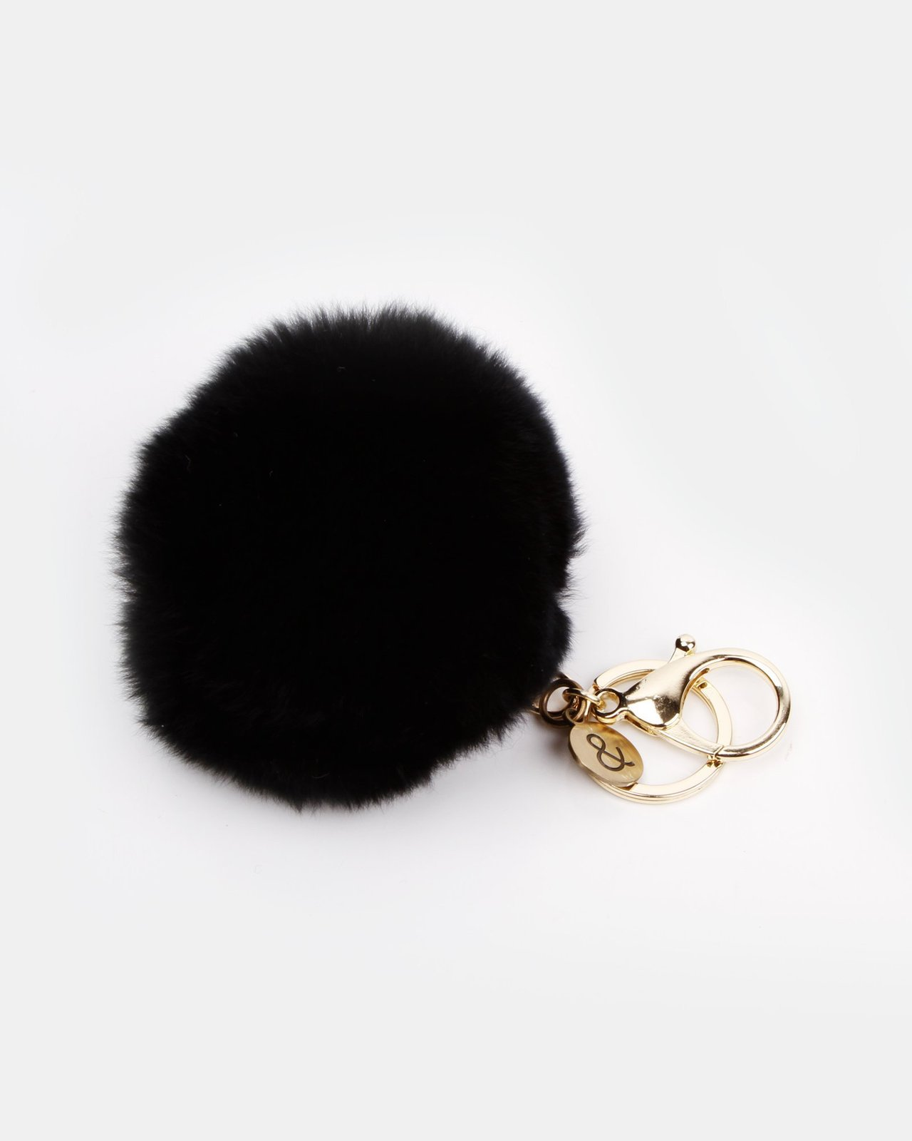 Belle and Bloom: Faux Fur Pom Pom Keychain - Black image