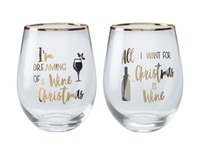 Maxwell & Williams: Celebrations Stemless Glass Set of 2 - Wine Christmas (500ml)