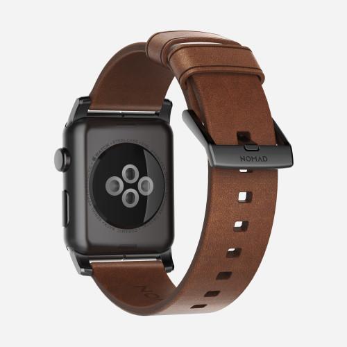Nomad Horween Leather Strap for Apple Watch 38mm - Modern Build, Black Hardware