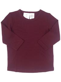 Babu: Merino Crew Neck Long Sleeve T-Shirt - Burgundy (2 Years) image