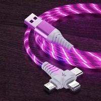 3-in-1 Illuminated Charging Cable - Red (1m)