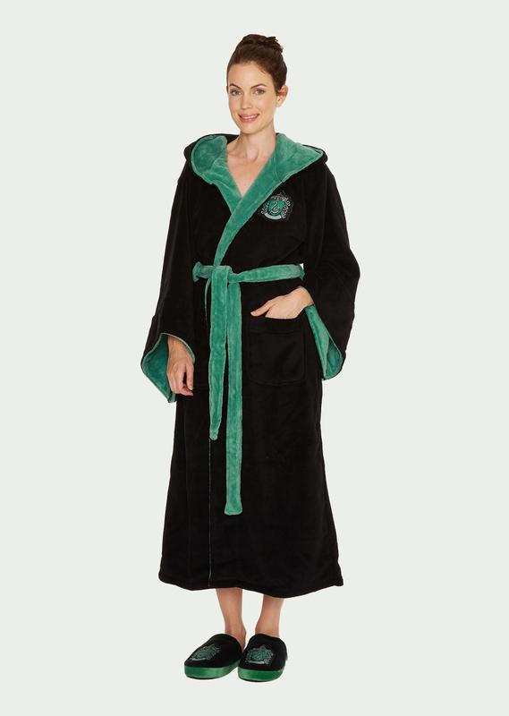 Harry Potter: Slytherin Fleece Robe - Black & Green Women's (One Size)
