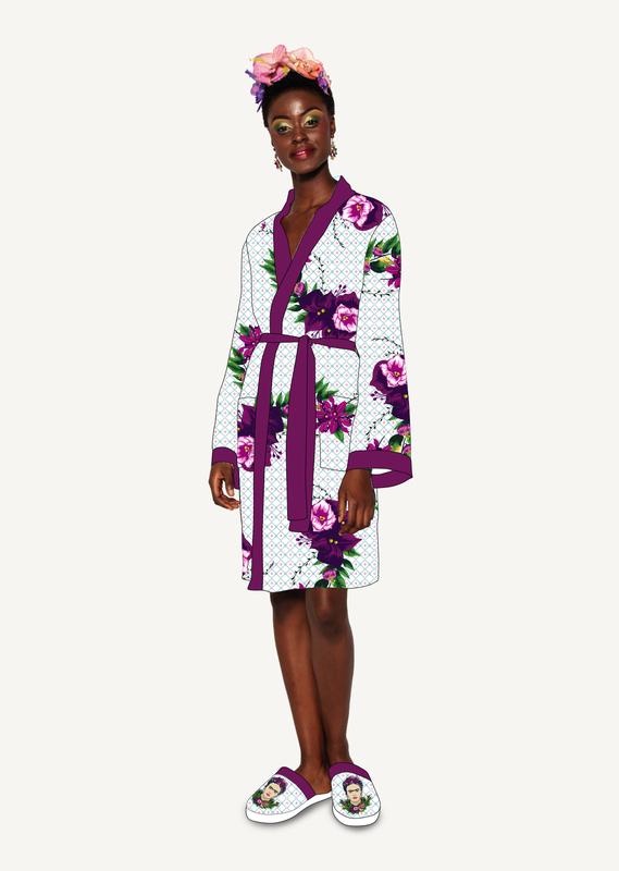 Frida Kahlo: Hoodless Satin Bathrobe - Violet Bouquet Ladies (One Size)