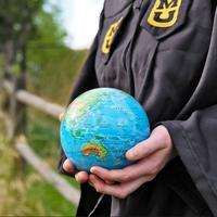 MOVA: Self Rotating Globe - Relief Map Blue - 11.5cm