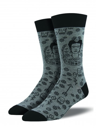 Socksmith: Men's Frida Freak Crew Socks - Heather Gray