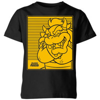 Nintendo Super Mario Bowser Retro Line Art Kids' T-Shirt - Black - 11-12 Years image