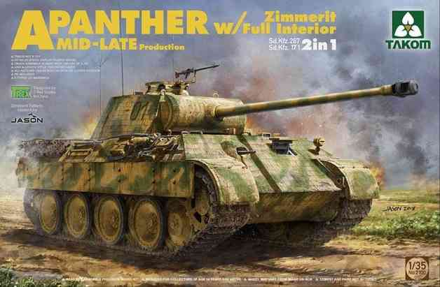 Takom: 1/35 A Panther Zimmerit w/Full Interior MID-Late Production Model Kit