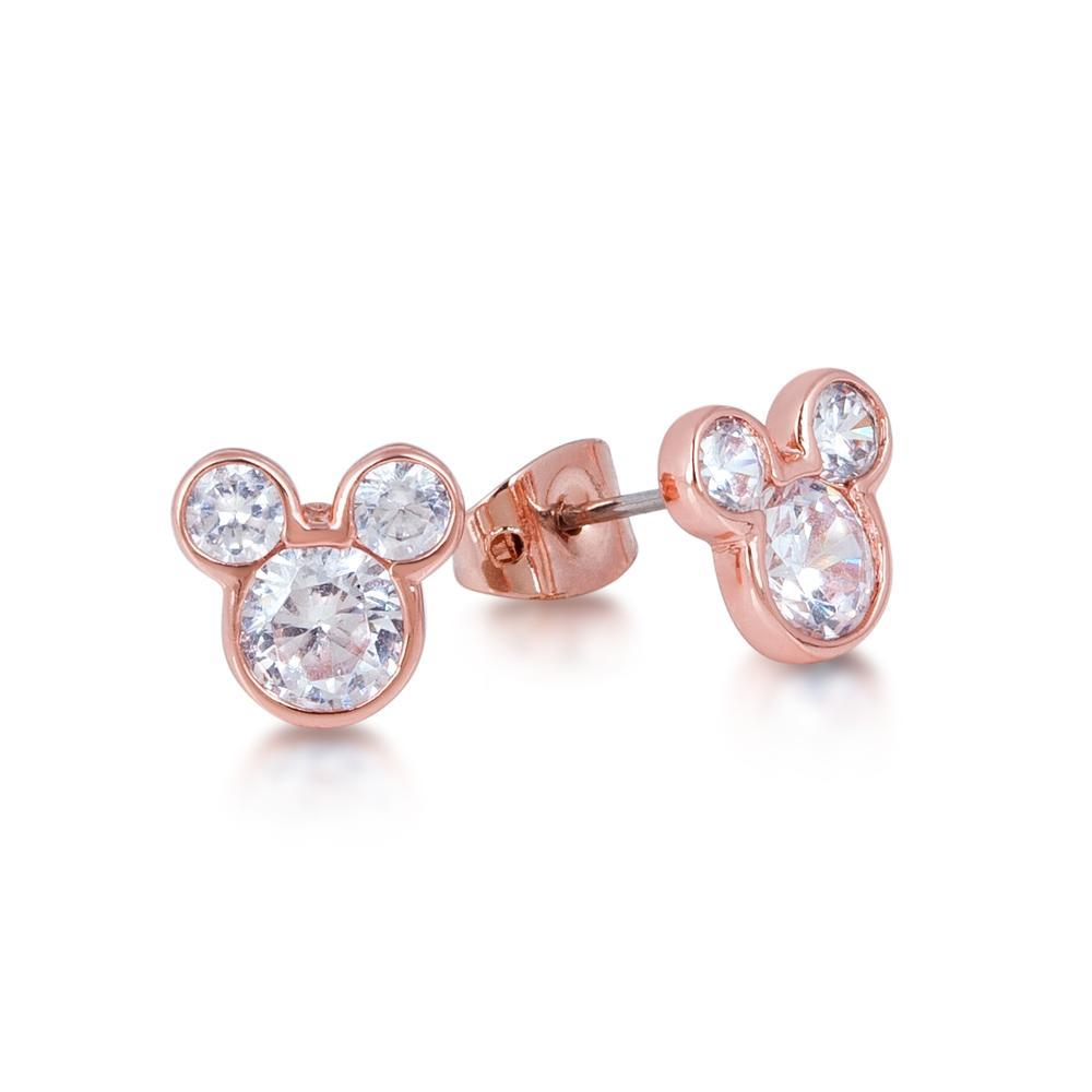 Couture Kingdom: Disney Crystal Mickey Head Stud Earrings- Rose Gold image