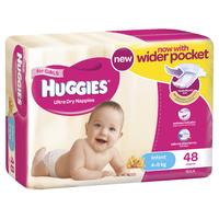 Huggies Ultra Dry Nappies Bulk - Infant Girl 4-8kg (48)