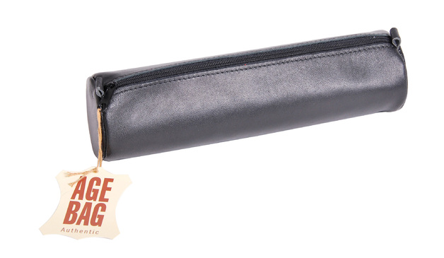 Age-Bag Large Round Leather pencil Case - Black