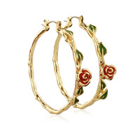 Disney Beauty and the Beast Rose Hoop Earrings - Yellow Gold