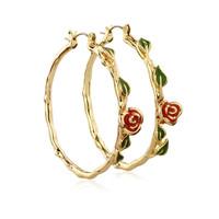 Disney Beauty and the Beast Rose Hoop Earrings - Gold