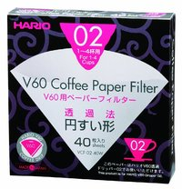 Hario: V60 Filter Paper White 02 Dripper (40 Pack)