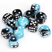 Chessex: D6 Gemini Cube Set (16mm) - Black Shell/White image