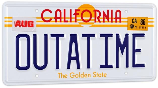 """Back To The Future: """"Outatime"""" DeLorean - 1/1 License Plate Replica"""