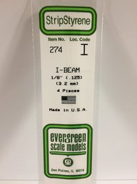 Evergreen Styrene I Beams 35cm Long X 3.2 mm (4)