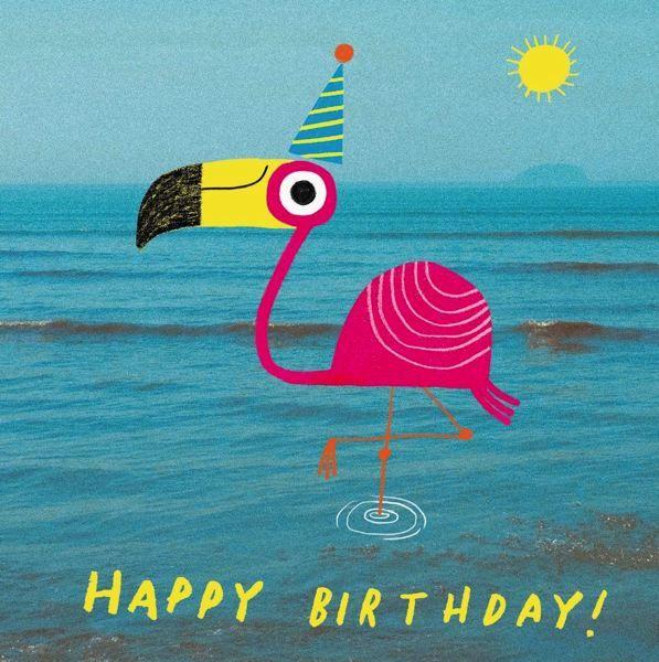Oh Deer: Happy Birthday Flamingo Greeting Card