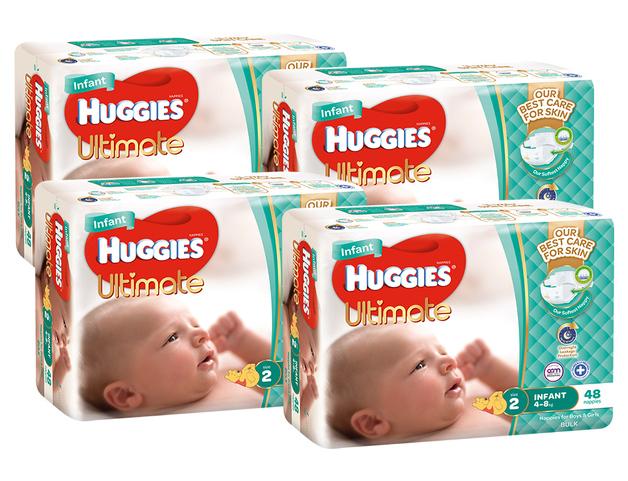 Huggies Ultimate Nappies Bulk Shipper - Infant 4-8kg (192)