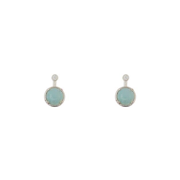 Short Story: Earring Simple Drop Amazonite Silver
