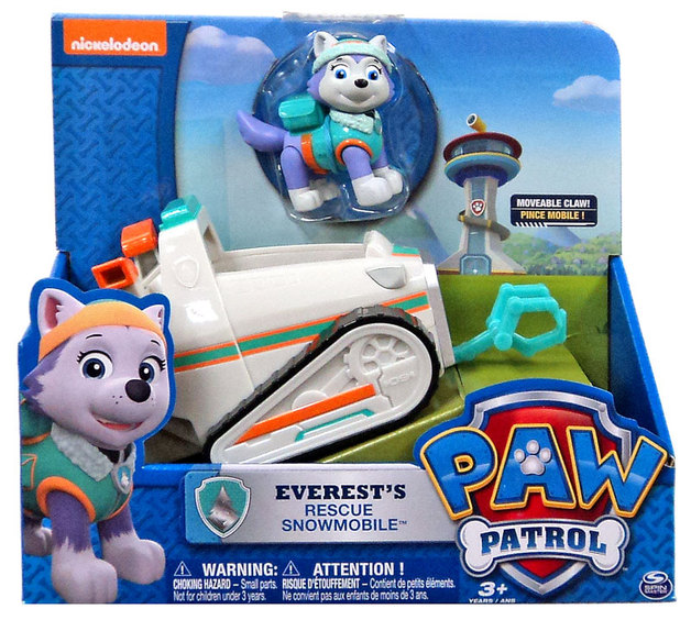 Paw Patrol Basic Vehicle Pup Everests Rescue Snowmobile Toy