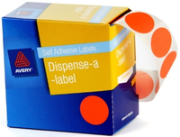 Avery Orange 24mm Diameter Circle Dispenser Labels Pkt500