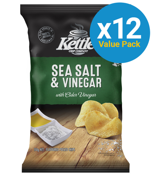 Kettle Chip Company Kettle Chips Sea Salt & Vinegar 150g (12 Pack)