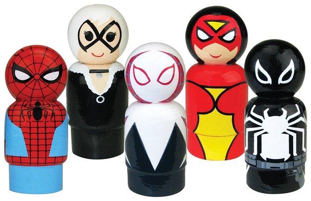 Spider-Man- Pin Mate Wooden Figure Set