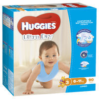 Huggies Ultra Dry Nappies Jumbo Pack - Size 3 Crawler Boy (90) image