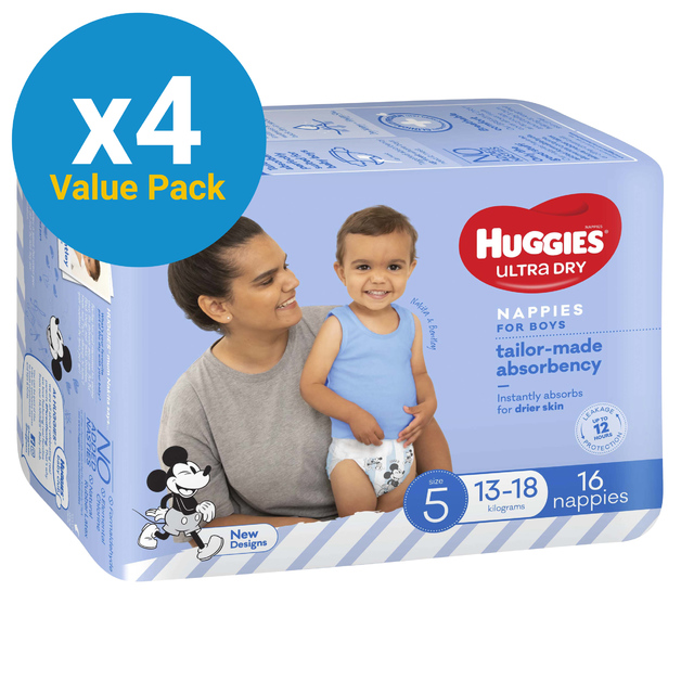 Huggies Ultra Dry Nappies Convenience Value Box - Size 5 Walker Boy (64)