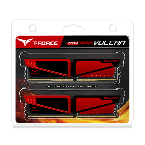 2x4GB T-Force Vulcan - Red 2400Mhz DDR4 RAM image