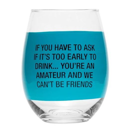 Say What?: Wine Glass - You're An Amateur (Blue) image