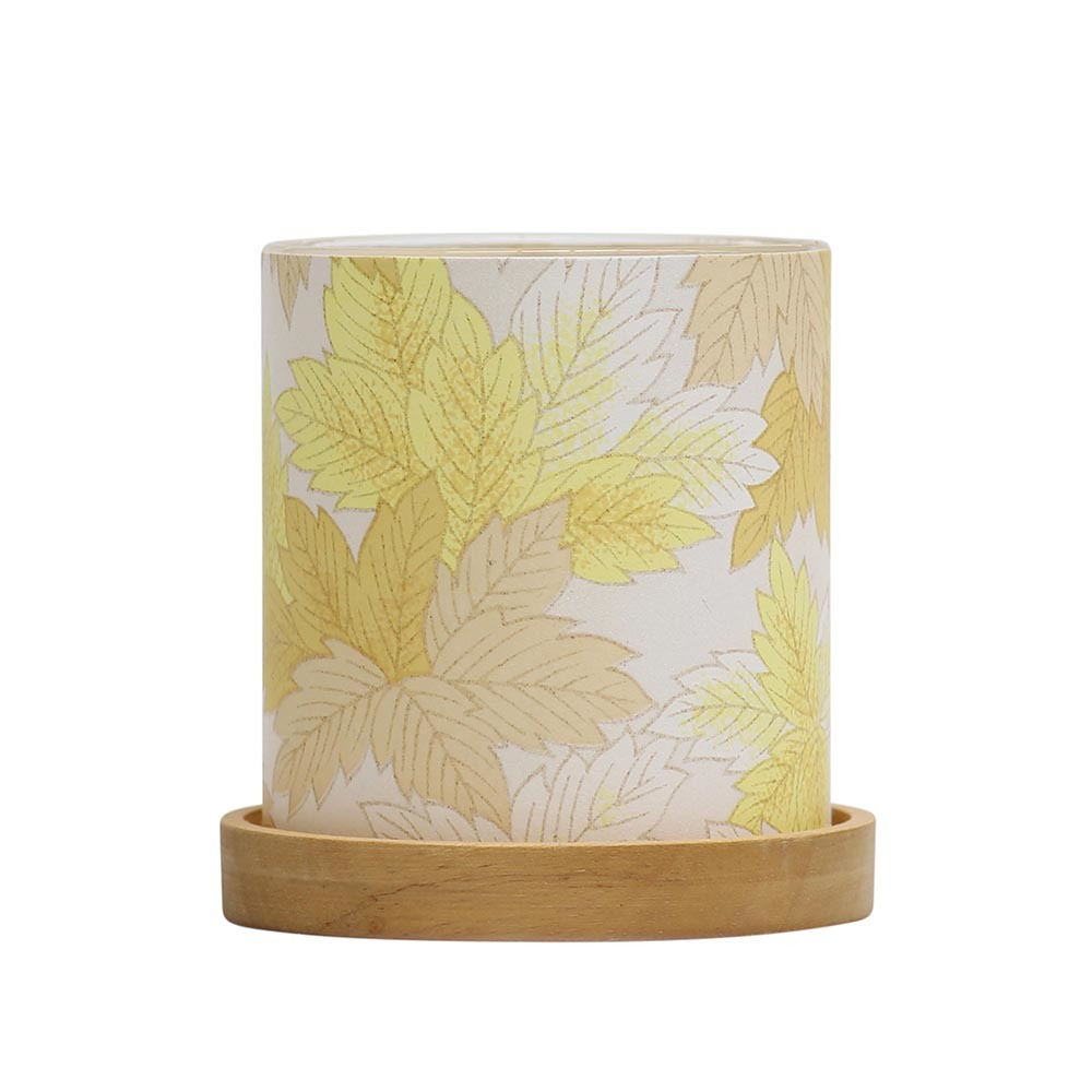 Mini Glass Lantern Maple Leaves (Yellow) image
