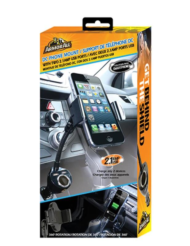 Armor All: DC Phone Mount w/ Dual 2.1Amp USB Ports
