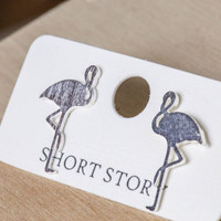 Short Story: Funky Play Earrings - Silver Flamingo