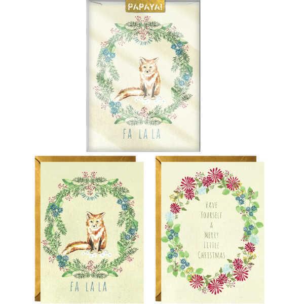 Papaya:Boxed Christmas Cards - Christmas Wreaths image