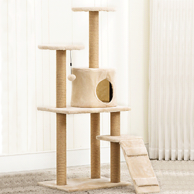 Cat Tree (4 Levels) 1.2M - Light Brown