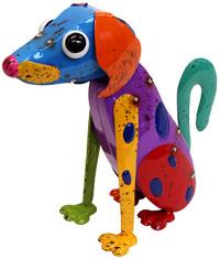 Cheeky Metal Animal Ornament - Spotty Dog