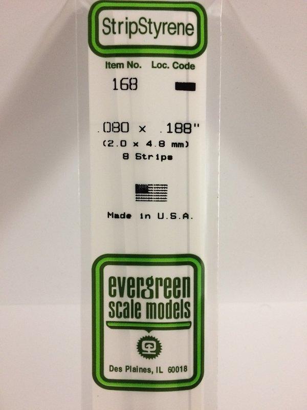 Evergreen Styrene Stripstyrene White 2X4.8 mm (8)