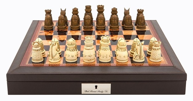 "Dal Rossi: Medieval - 18"" Resin Chess Set (PU Brown)"