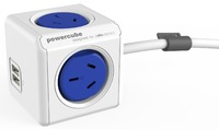 allocacoc PowerCube Extended USB 1.5m - 4 Outlets, 2 USB