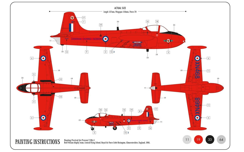 Airfix Hunting Percival Jet Provost T.4 1:72 Model Kit - Small Starter Set image