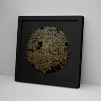 Christchurch Mapscape Black on Black Foil Print - Framed