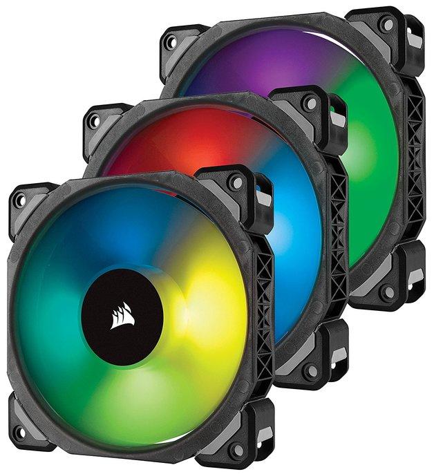 Corsair ML120 PRO RGB LED 120MM PWM Premium Magnetic Levitation Fan — 3 Fan Pack with Lighting Node Pro Controller