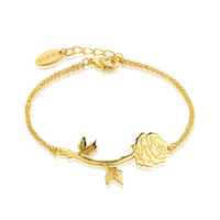 Disney Beauty and the Beast Rose Bracelet - 14k Gold Plated